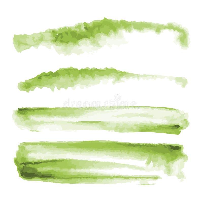 Zielona akwarela kształtuje, splotches, plamy, farby muśnięcia uderzenia Abstrakcjonistyczni akwareli tekstury tła ustawiający zdjęcie stock