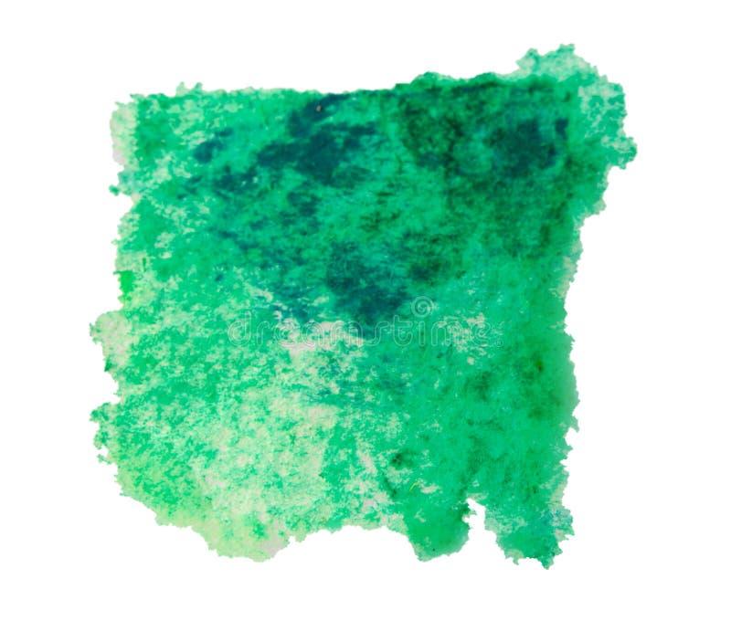 Zielona akwareli farby plama, odosobniona obraz stock