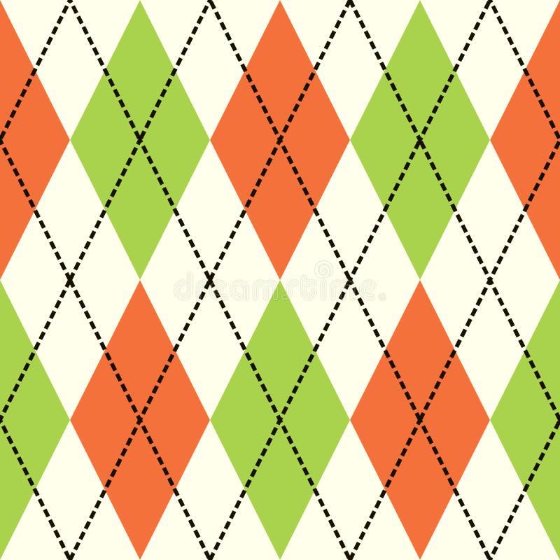 zielona argyle pomarańcze ilustracja wektor