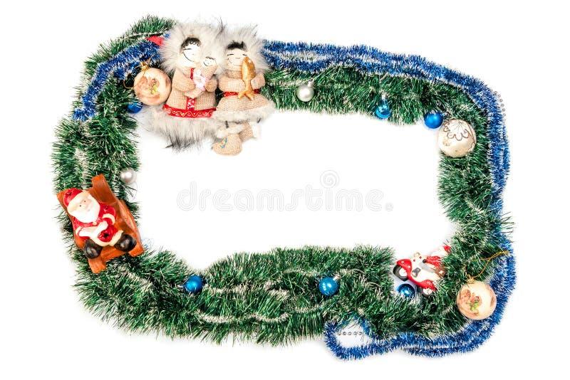 Zielona błękit rama z piłkami, Święty Mikołaj i postaciami inha, zdjęcia royalty free
