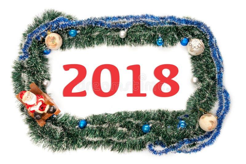 Zielona błękit rama z piłkami i Santa Claus dla nowego roku i bożych narodzeń z liczbami zdjęcie royalty free