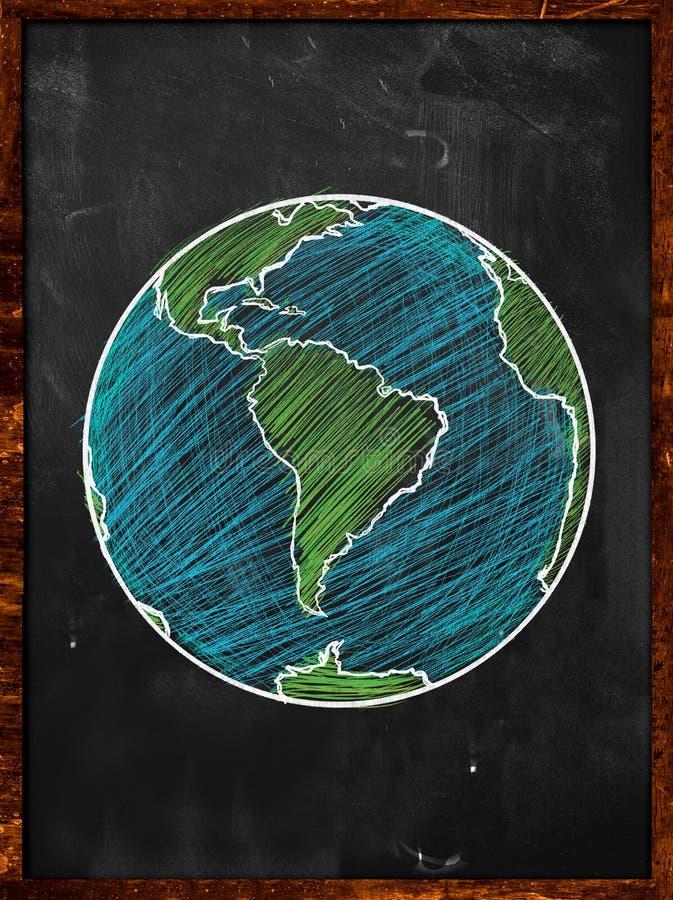 Zielona błękit ziemia na Blackboard