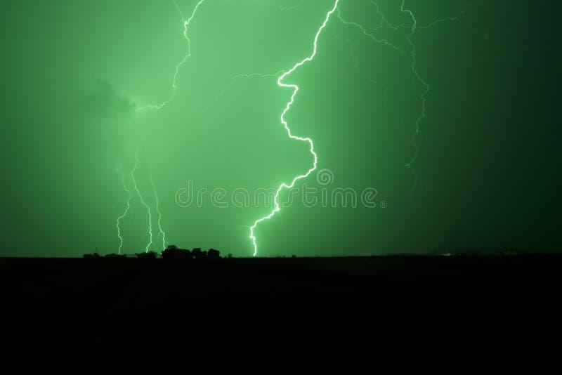 zielona błyskawica fotografia stock