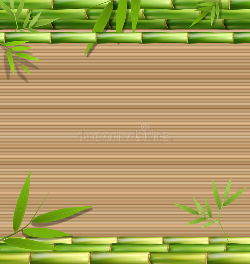 Zielona bambusowa trawa na brązie royalty ilustracja