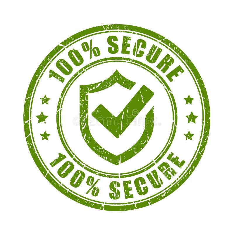 Zielona bezpiecznie pieczątka ilustracja wektor