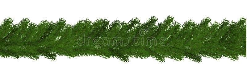 Zielona boże narodzenie granica sosny gałąź, bezszwowy wektor odizolowywający na białym tle Xmas girlanda de ilustracji