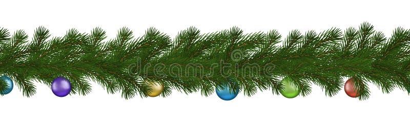 Zielona boże narodzenie granica sosny gałąź i piłka, bezszwowy wektor odizolowywający na białym tle Xmas g royalty ilustracja