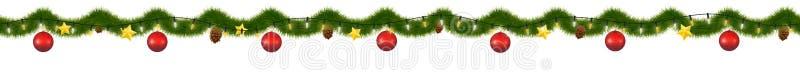 Zielona Bożenarodzeniowa girlanda dla dekoraci i stron internetowych ilustracja wektor