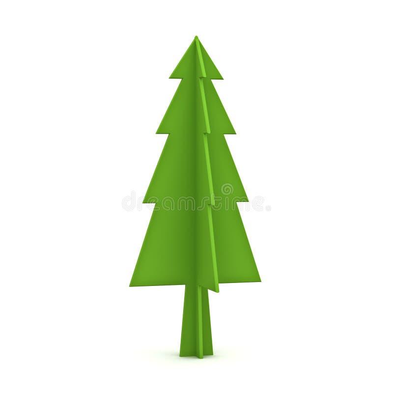 Zielona choinka na białym tle dla boże narodzenie dekoraci ilustracja wektor