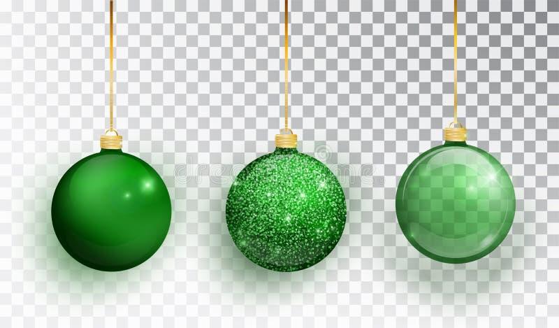 Zielona choinki zabawka ustawia odosobnionego na przejrzystym tle Pończoch bożych narodzeń dekoracje Wektorowy przedmiot dla boże royalty ilustracja