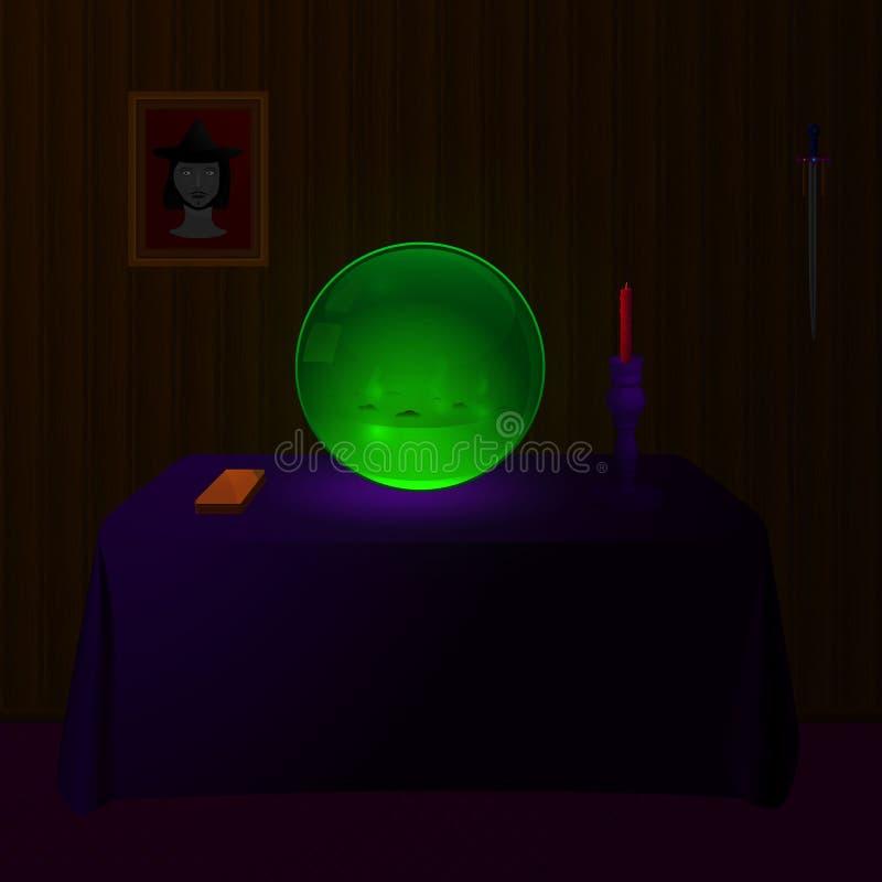 Zielona Crystall piłka ilustracja wektor