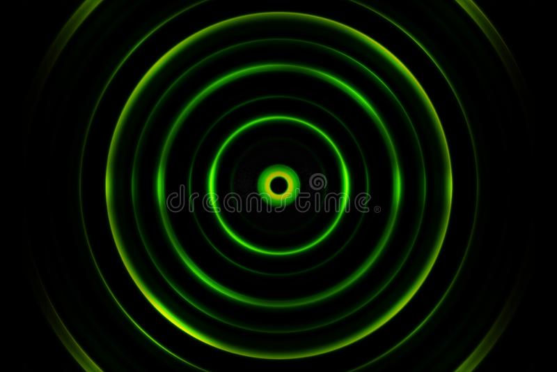 Zielona cyfrowa rozsądna fala lub okręgu sygnał, abstrakcjonistyczny tło fotografia stock