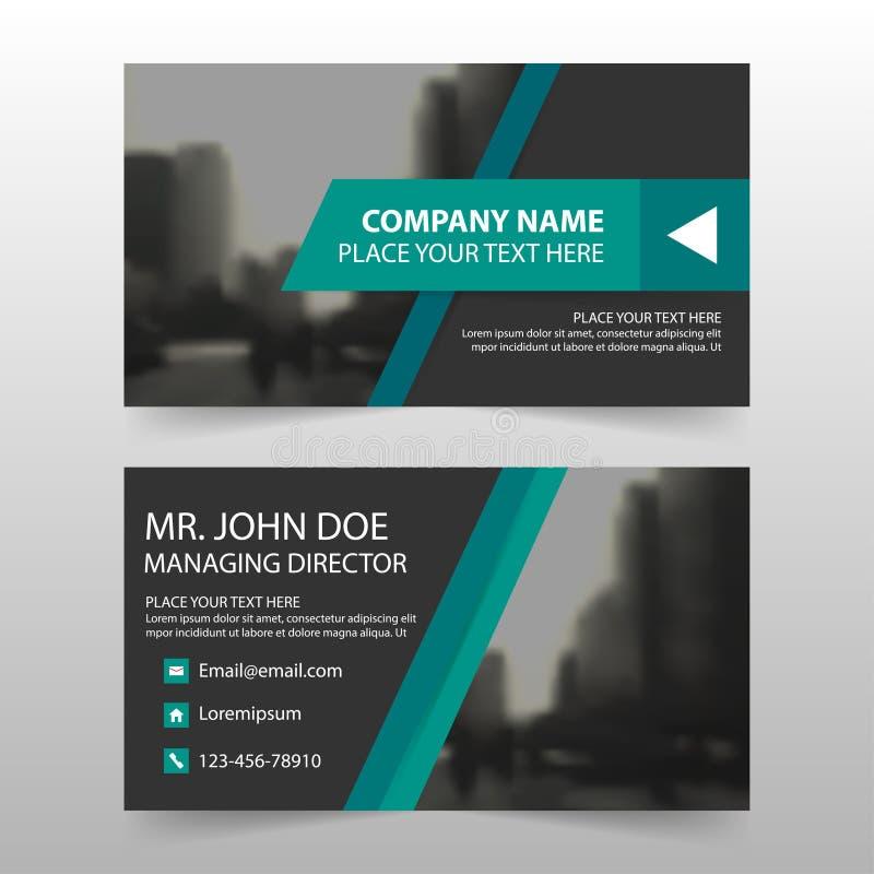 Zielona czarna korporacyjna wizytówka, imię karty szablon, horyzontalny prosty czysty układu projekta szablon, Biznesowa sztandar royalty ilustracja