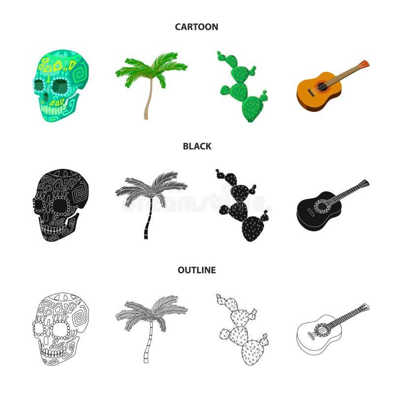 Zielona czaszka z obrazkiem, drzewko palmowe, gitara, krajowy Meksykański instrument, kaktus z kręgosłupami Meksyk kraj ilustracja wektor