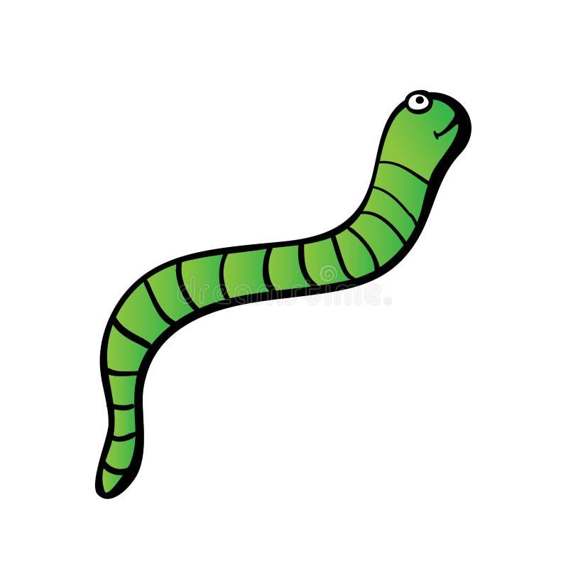 Zielona dżdżownica lub gąsienica, wektorowa ilustracja ilustracja wektor