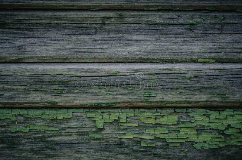 Zielona drewniana tekstura jako tła stary załamuje się ogrodzenie obrazy stock