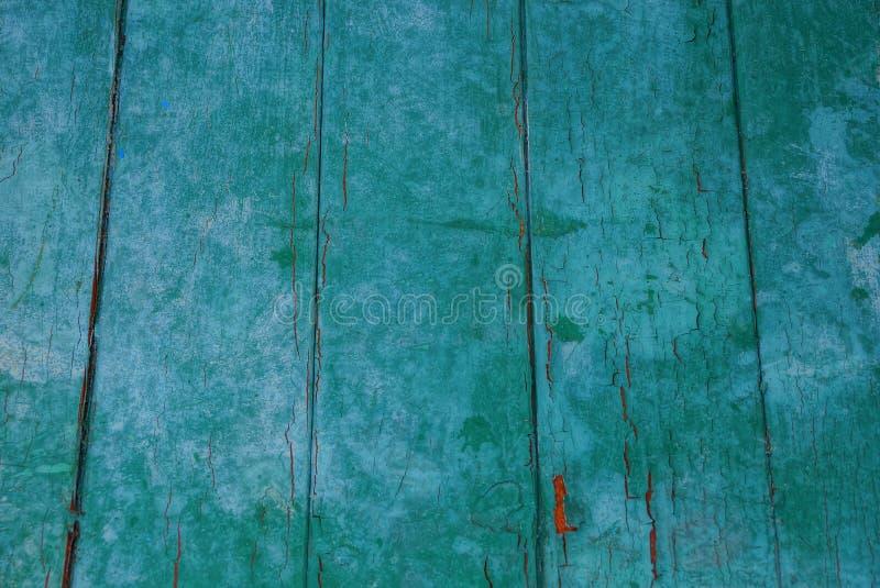 Zielona drewniana tekstura od szerokich starych by? ubranym desek w ?cianie zdjęcia stock