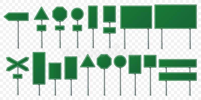 Zielona drogowego znaka deska Kierunków znaki wsiadają na metalu stojaku, pustej pointer poczcie i naczelnikostwo signboard odizo royalty ilustracja