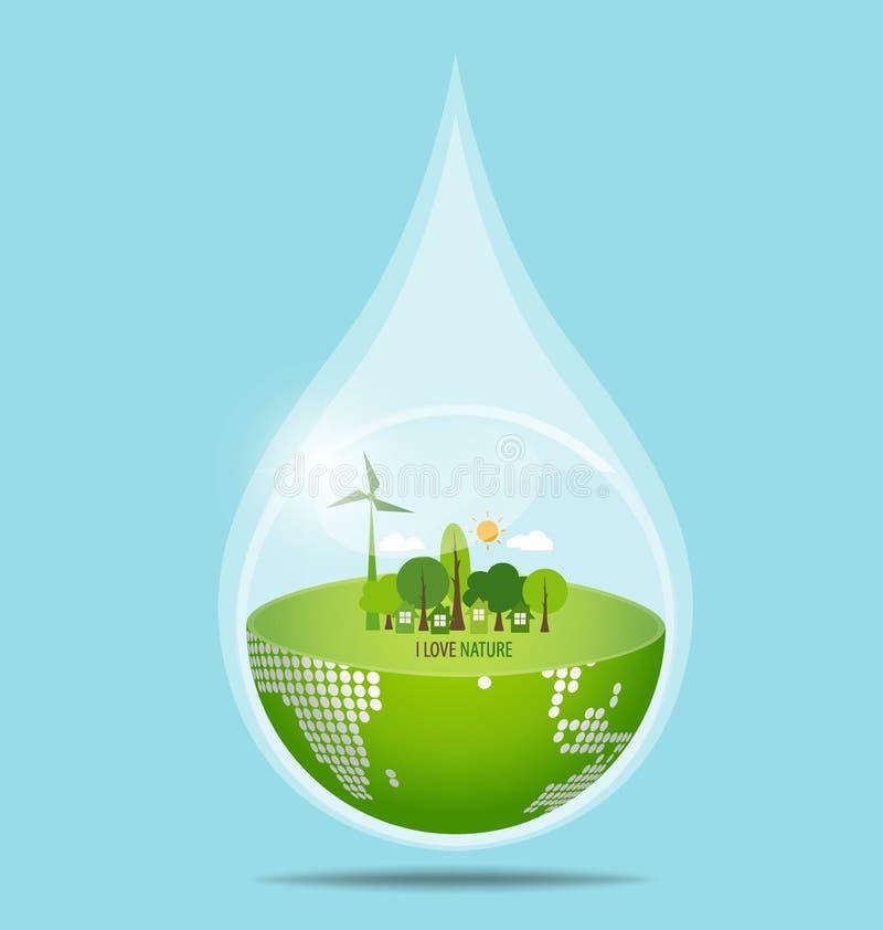 Zielona Eco ziemia z wody kroplą, wektorowa ilustracja royalty ilustracja
