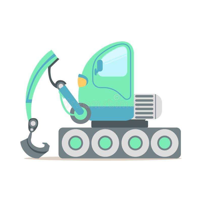 Zielona ekskawator ciężarówka, budowy maszynerii wyposażenia kreskówki wektoru kolorowa ilustracja ilustracja wektor