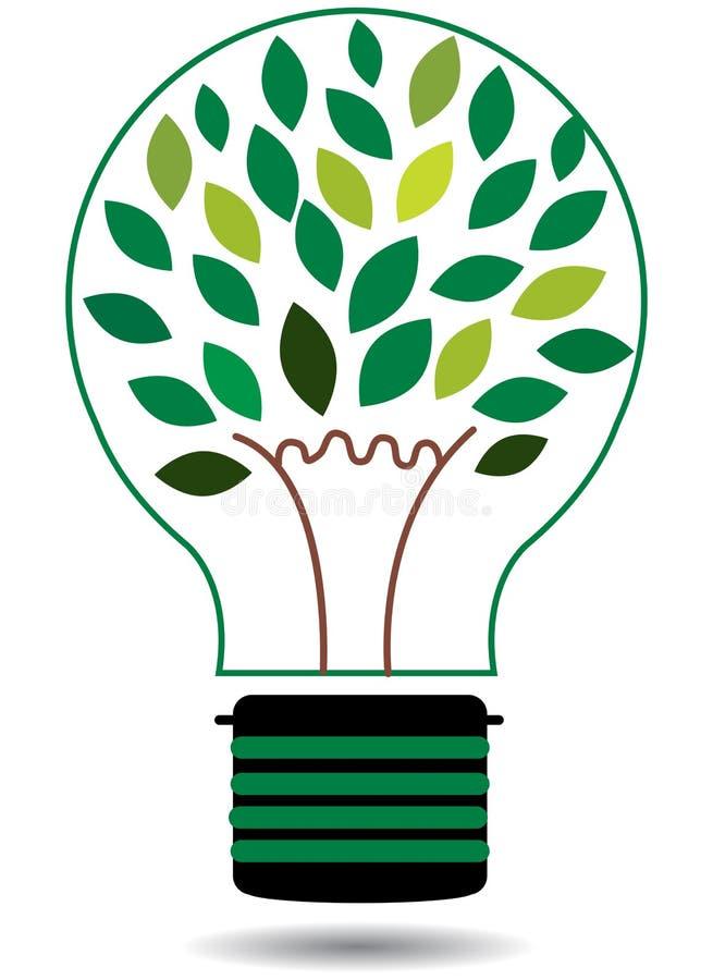 Zielona energetyczna drzewna żarówka wektoru ilustracja royalty ilustracja
