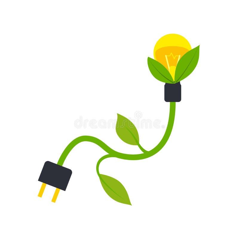 Zielona energetyczna elektryczności ikona ilustracja wektor