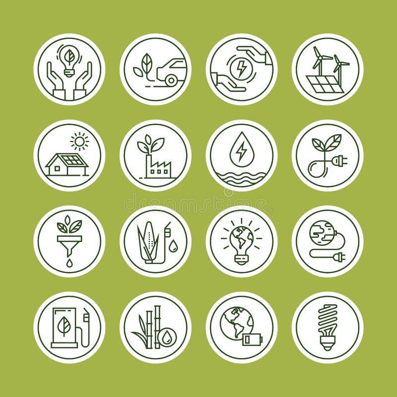 Zielona energetyczna ikona ustawiająca w kreskowym stylu ilustracja wektor