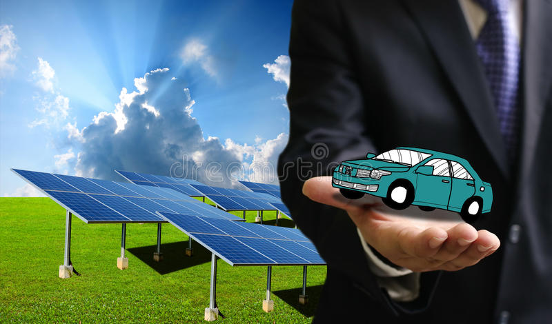 Zielona energia dla transportu, energia słoneczna samochód c zdjęcia royalty free
