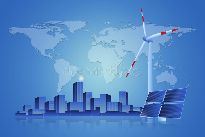 Zielona energia panel słoneczny, silnik wiatrowy i pejzaż miejski -, royalty ilustracja