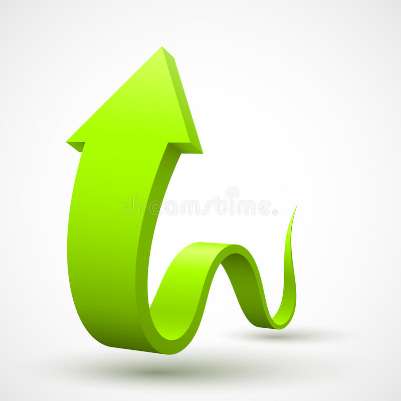 Zielona falista strzała 3D royalty ilustracja