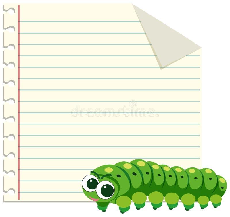 Zielona gąsienica na nutowym szablonie royalty ilustracja
