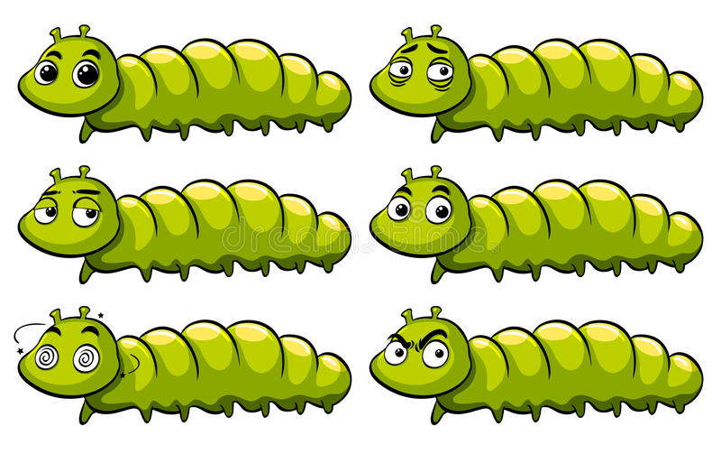 Zielona gąsienica z różnymi emocjami ilustracja wektor