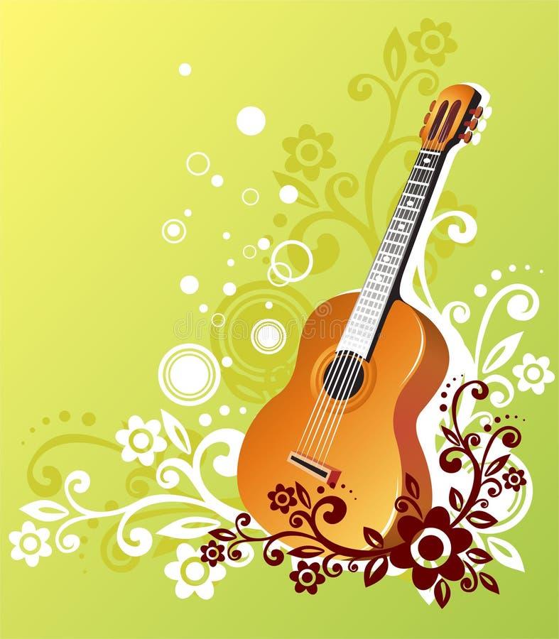 zielona gitara royalty ilustracja