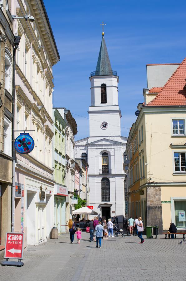 Zielona Gora in Poland. Zielona Gora, Poland - May 19, 2019: old town of the city. The largest city in Lubuskie Voivodeship, in western Poland stock images