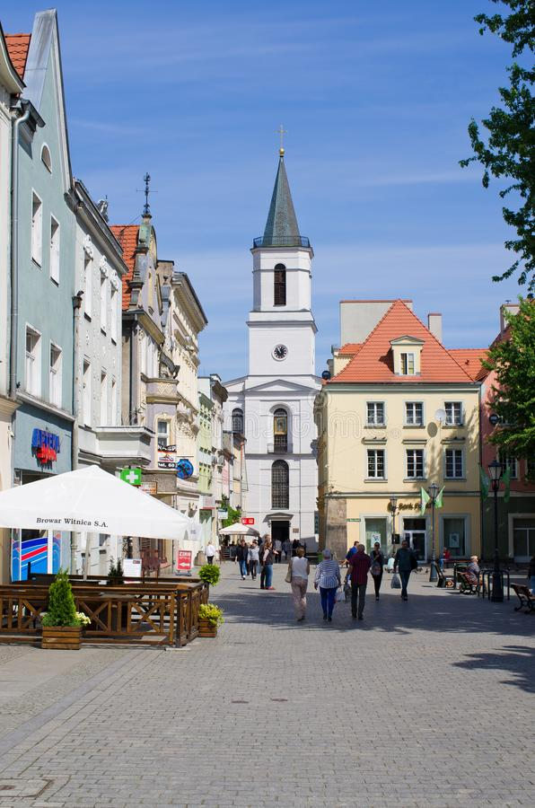 Zielona Gora in Poland. Zielona Gora, Poland - May 19, 2019: old town of the city. The largest city in Lubuskie Voivodeship, in western Poland stock image