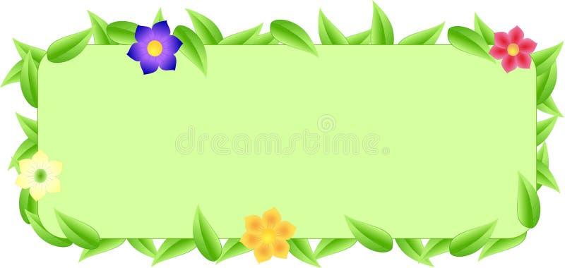 Zielona granica robić liście z astronautycznym tekstem royalty ilustracja