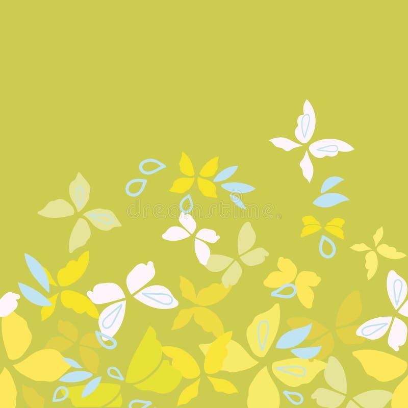 Zielona granica z żółtymi motylami royalty ilustracja