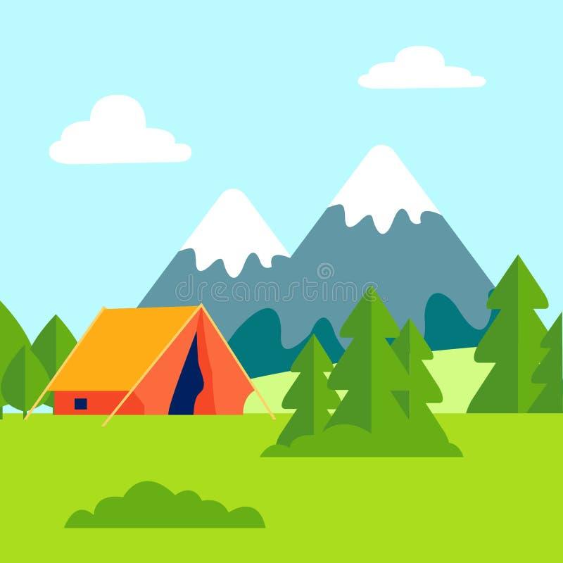 Zielona halizna, na wolnym powietrzu Campingowa Wektorowa ilustracja ilustracja wektor
