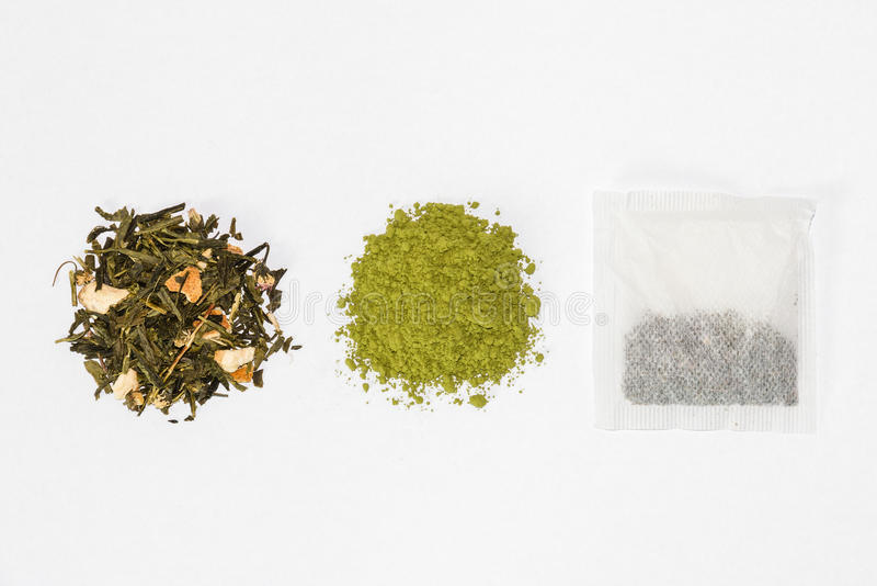 Zielona herbata, matcha herbata i herbaciana torba, zdjęcie royalty free