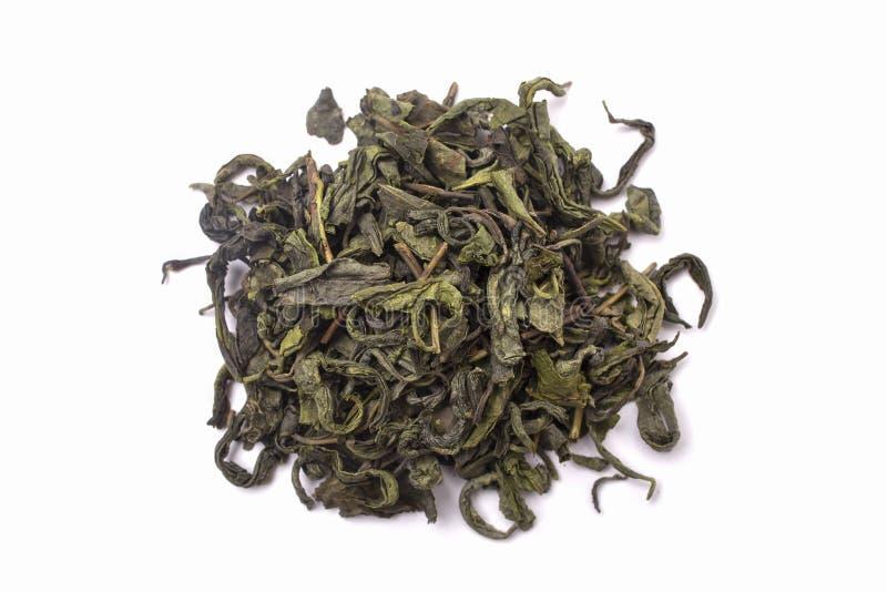 Zielona herbata odizolowywająca na białym tle, odgórny widok zdjęcia stock