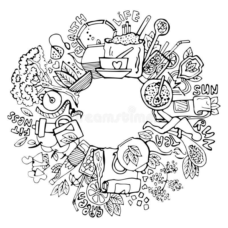 Zielona herbata okręgu doodles Kreślący zielona herbata elementy, naturalni produkty i przedmioty zdrowi, odnosić sie zielona her ilustracja wektor