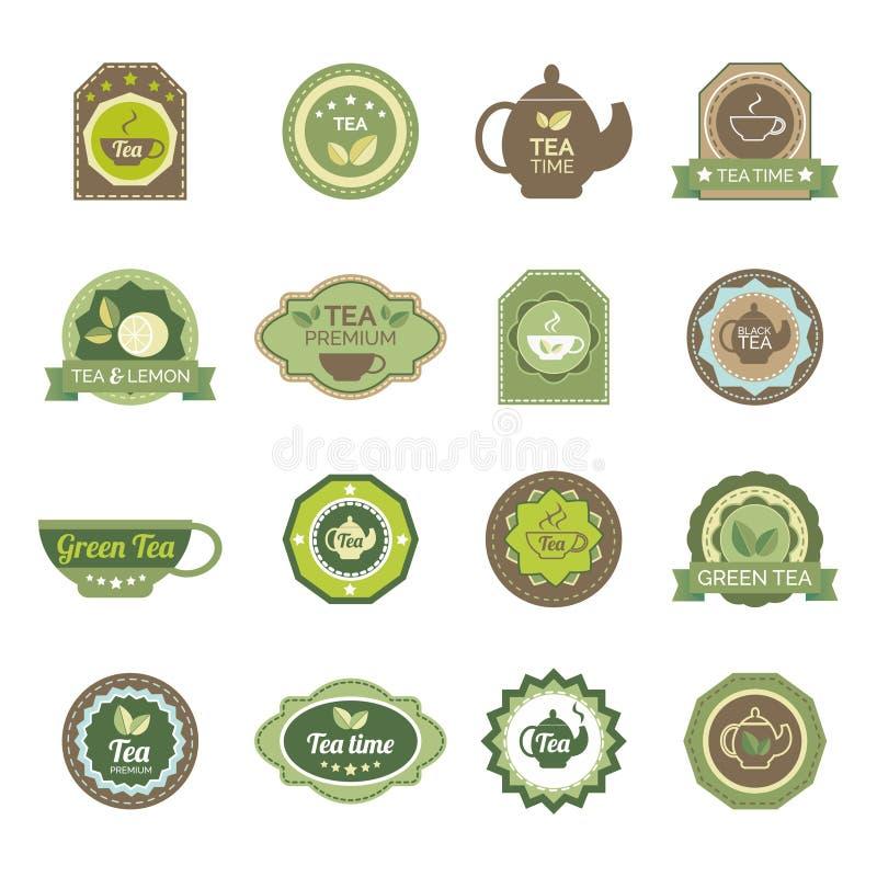 Zielona herbata przylepia etykietkę ikony ustawiać royalty ilustracja