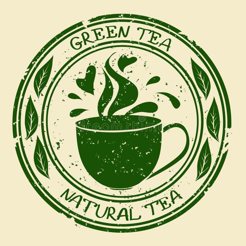 Zielona herbata znaczek z filiżanką ilustracji