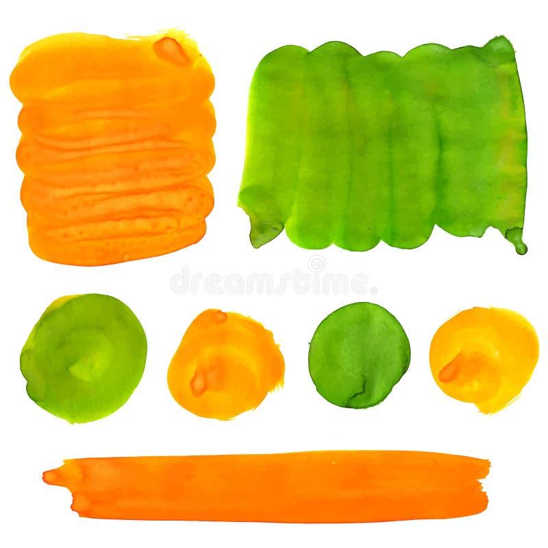 Zielona i pomarańczowa guasz farba plami i uderzenia ilustracja wektor