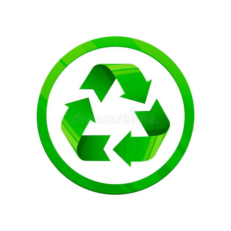 zielona ikona przetwarza Round kształta symbol, eco zielony kolor, 3d styl, biały tło royalty ilustracja
