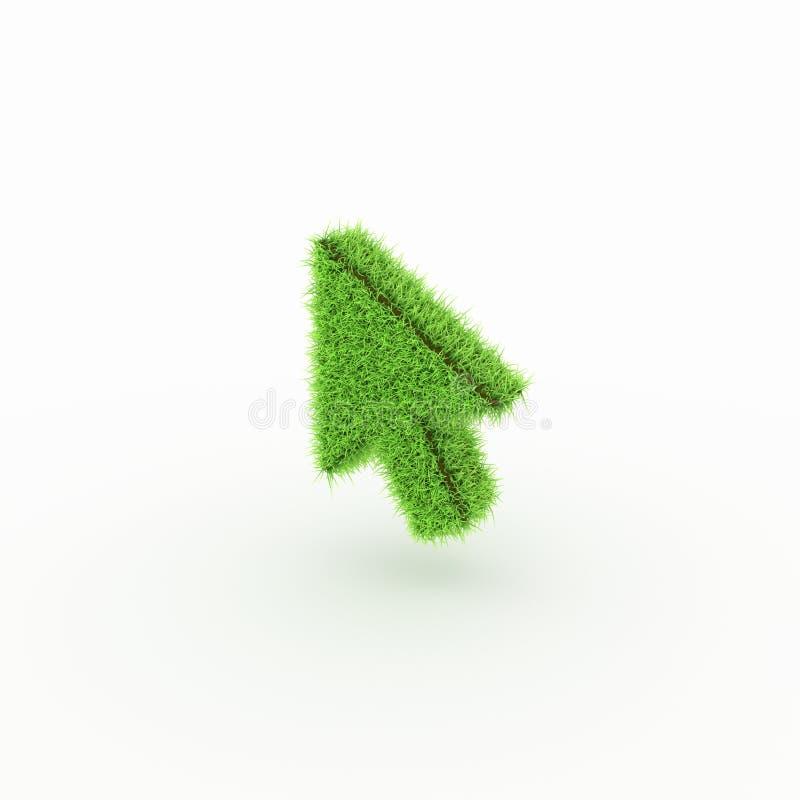 Zielona ikona - strzała, kursor fotografia stock