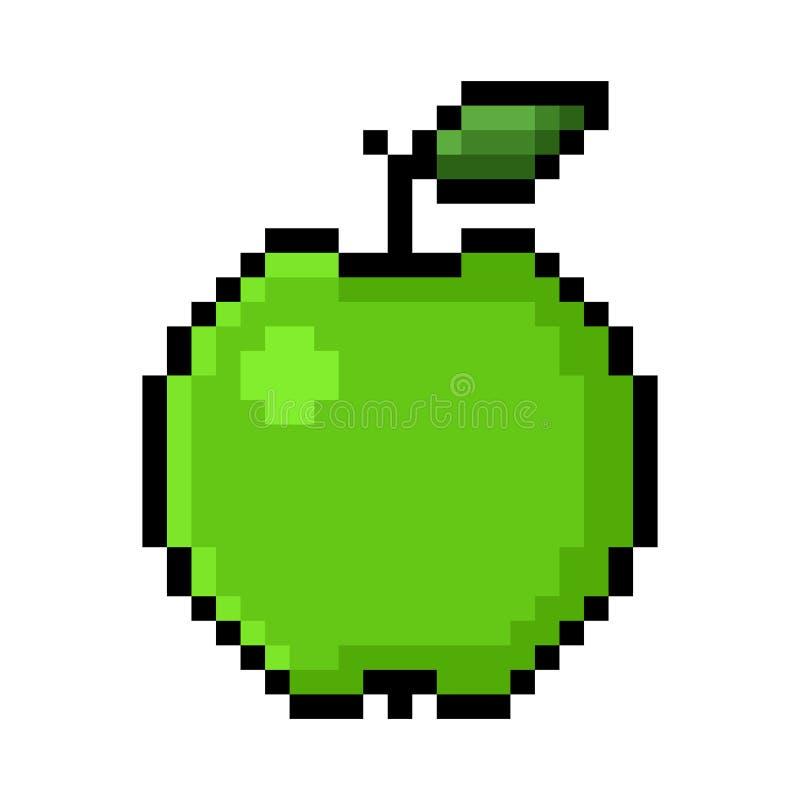 Zielona jabłczana piksel sztuka royalty ilustracja