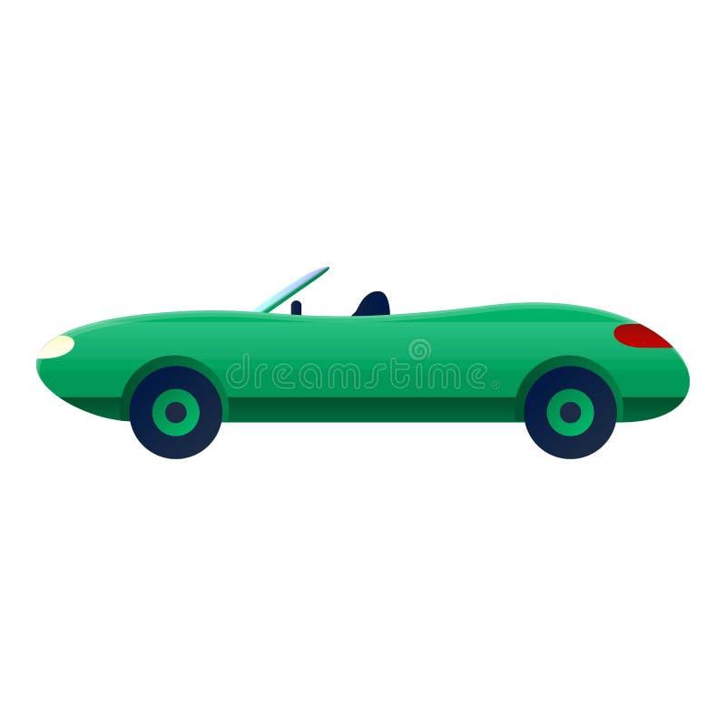 Zielona kabriolet ikona, kreskówka styl ilustracja wektor