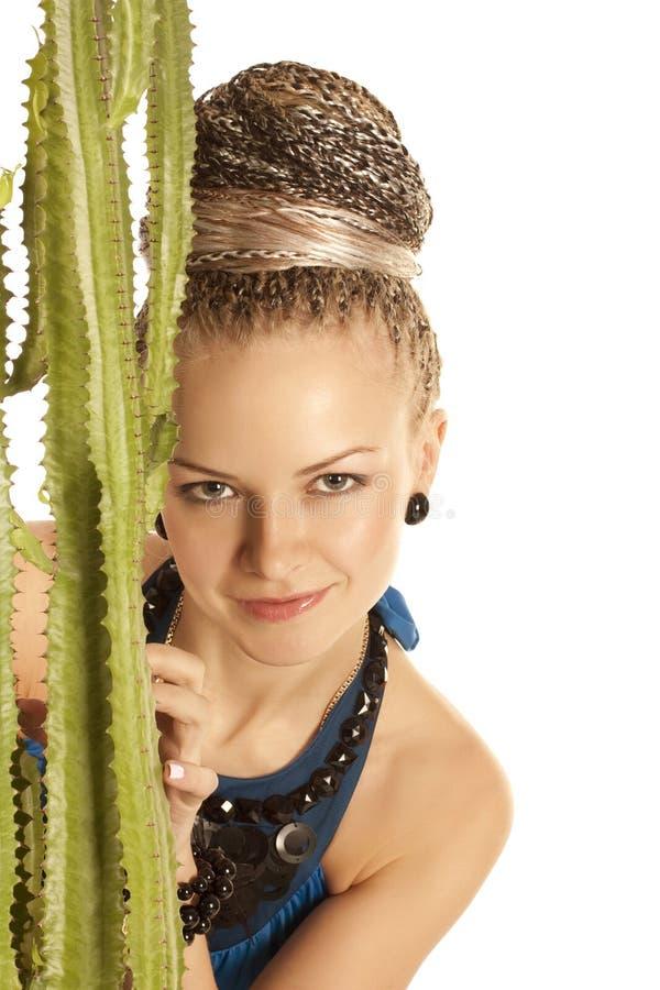 zielona kaktus kobieta obraz royalty free