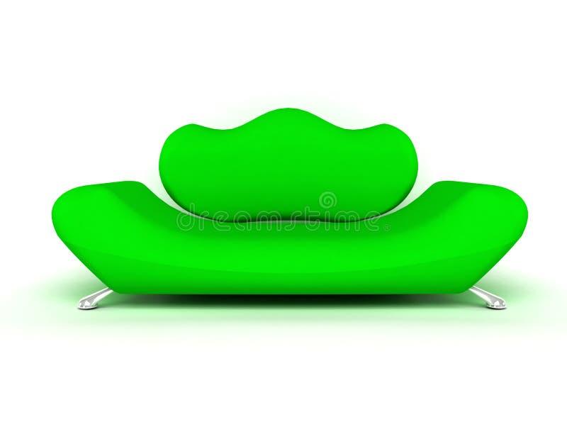 Zielona kanapa odizolowywająca na biały tle royalty ilustracja